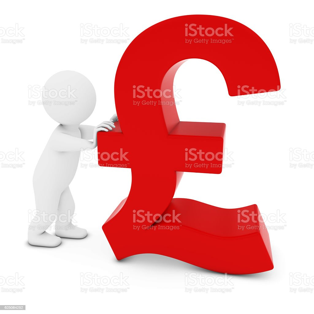 3D Man Character Pushing Red Pound Symbol 3D Illustration stock photo