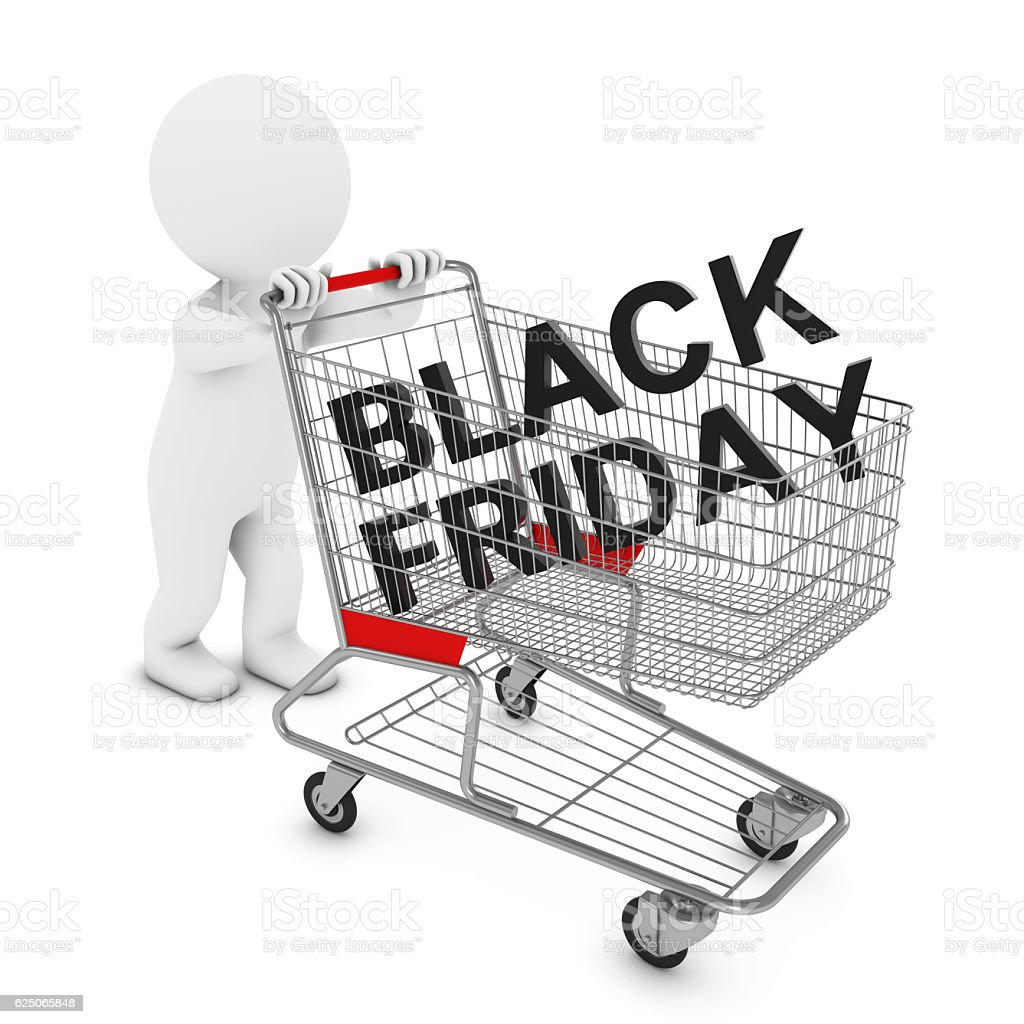 3D Man Character Pushing Shopping Trolley with Black Friday Text stock photo