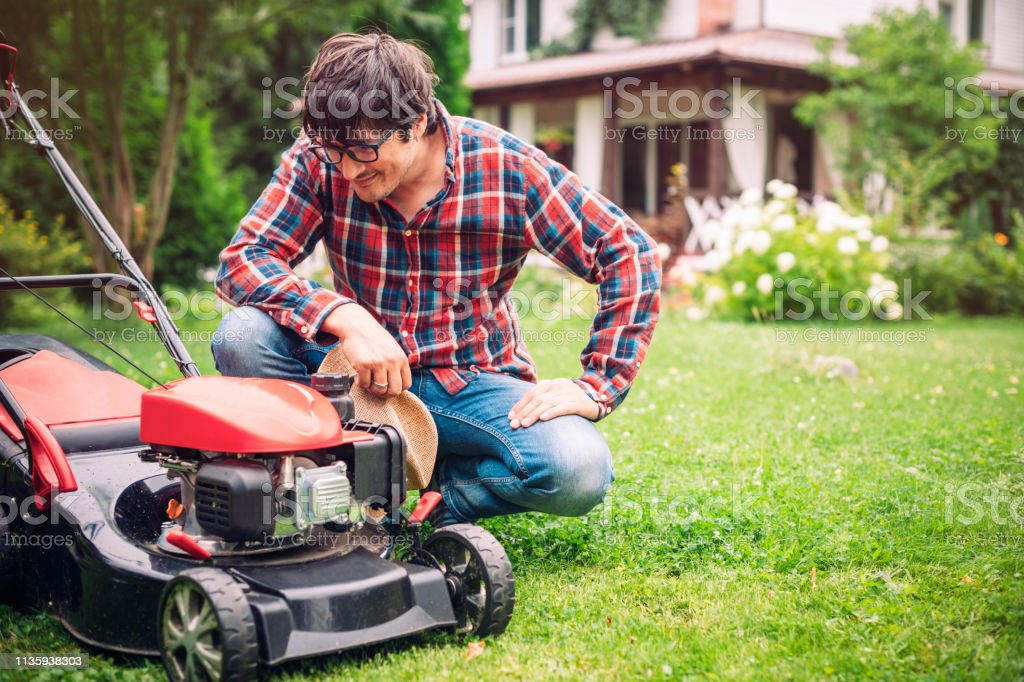Photo for sale - Man mowing lawn in a garden in summer, UK