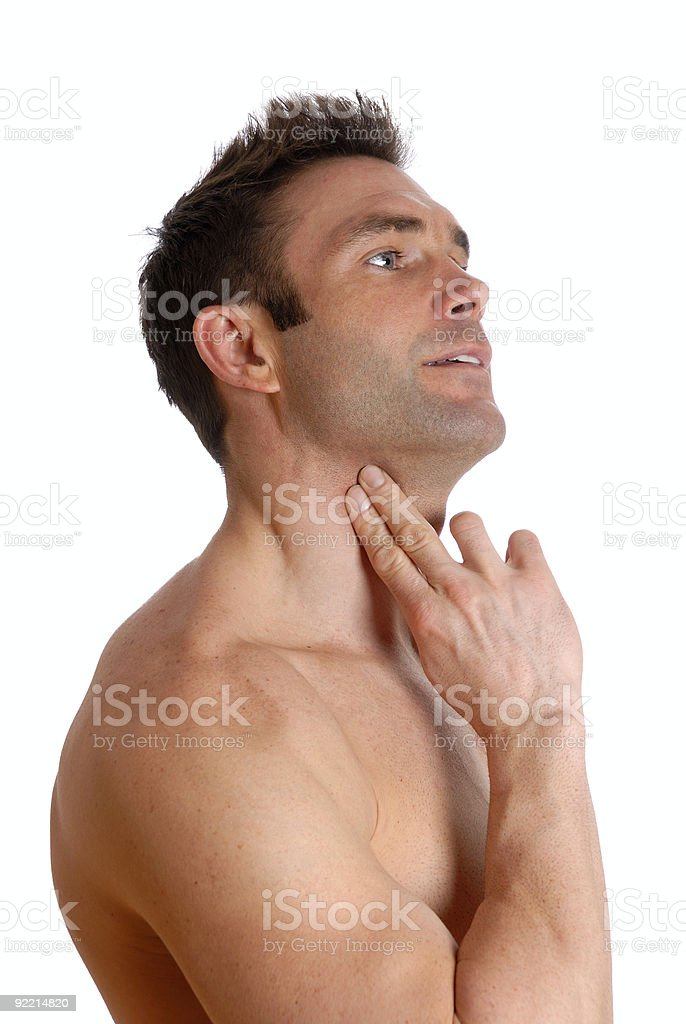 Man checking his pulse royalty-free stock photo
