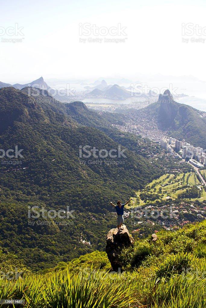 Man cheering at Rio de Janeiro royalty-free stock photo