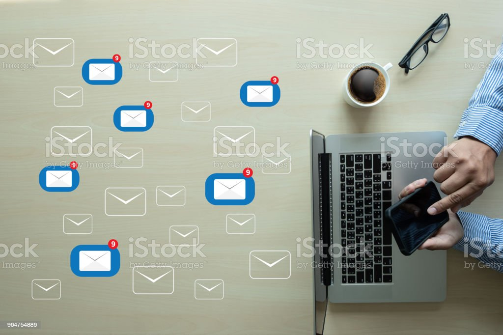 man chick on photn Mail Communication Connection message to mailing contacts phone Global Letters Concept royalty-free stock photo