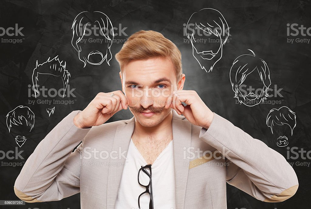 Man choose facial hair style, beard and mustache royalty-free stock photo