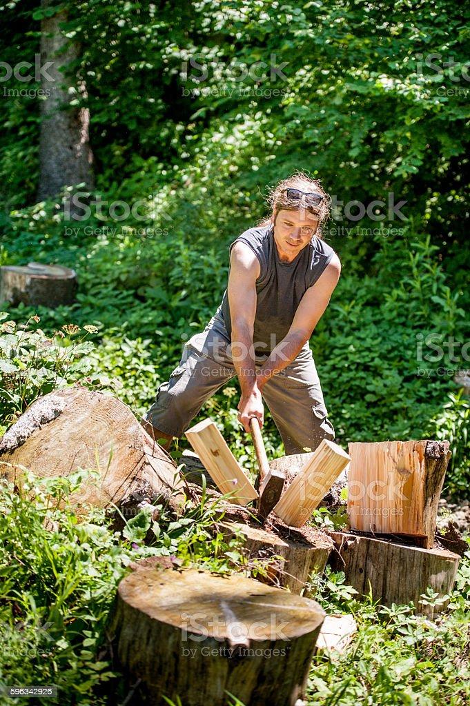 Man Chopping Wood royalty-free stock photo