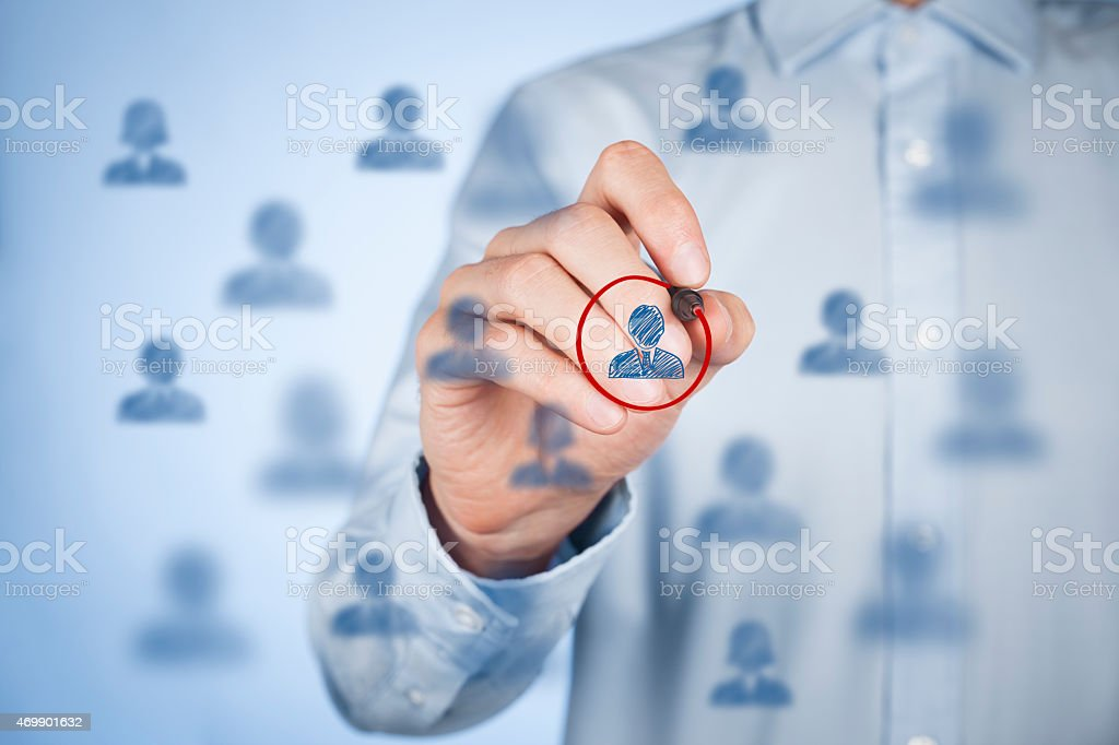 A man circling a social network icon stock photo