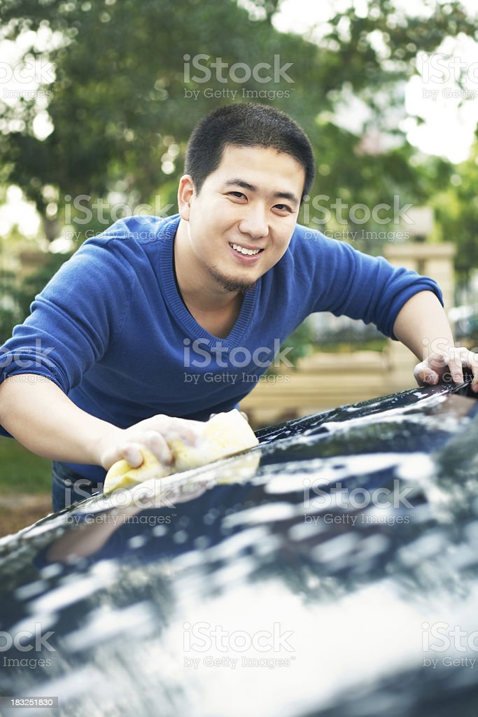 Man cleaning the car royalty-free stock photo