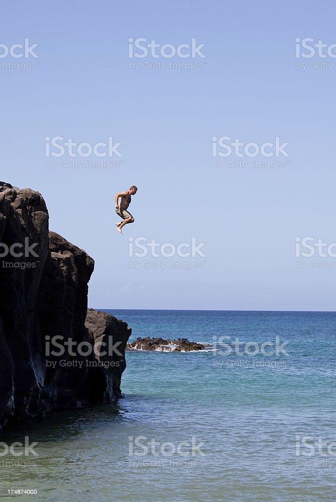 Man Cliff Jumping royalty-free stock photo