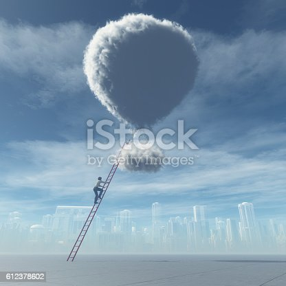 Man climb a ladder to a cloud shaped as a balloon. This is a 3d render illustration