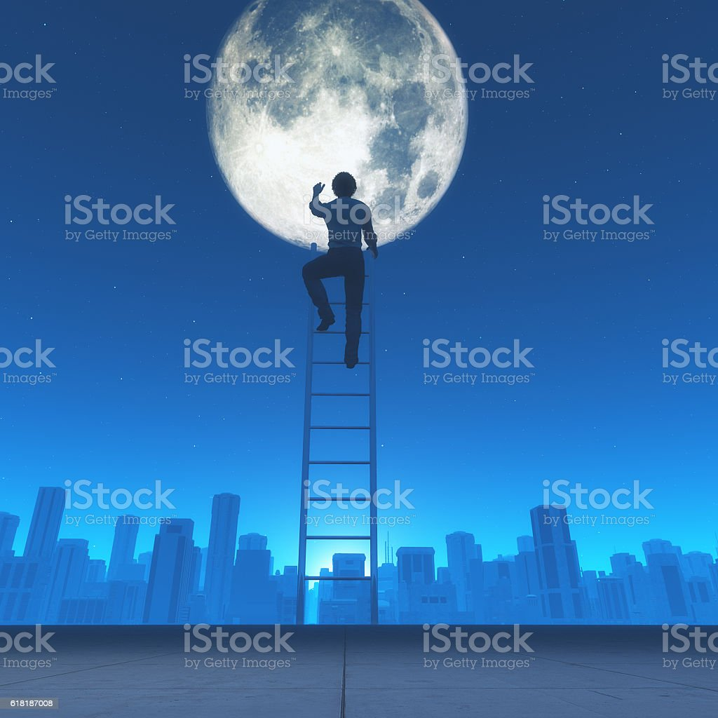 Man climb a ladder to the moon i stock photo