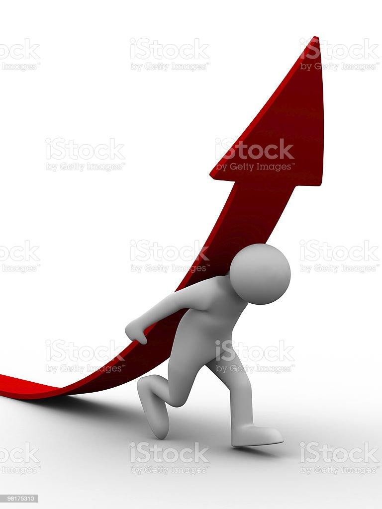 man climb red arrow. Isolated 3D image royalty-free stock photo