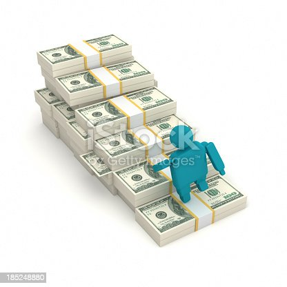 465048456istockphoto Man climbing a staircase of US dollars 185248880