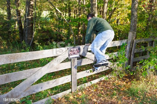 man,day,fence,gate,private property sign,no trespassing sign,horizontal,posted property