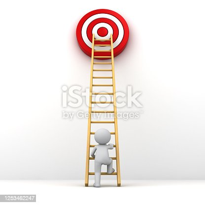 1026781012 istock photo 3D Man climbing ladder to the red goal target 1253462247