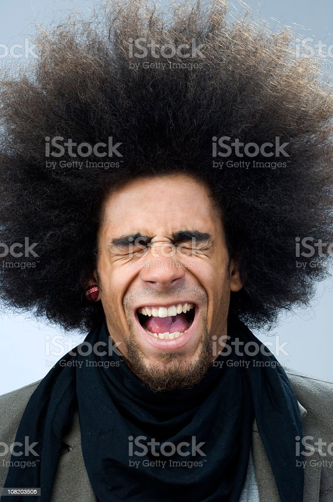 Man Closing Eyes and Opening Mouth royalty-free stock photo