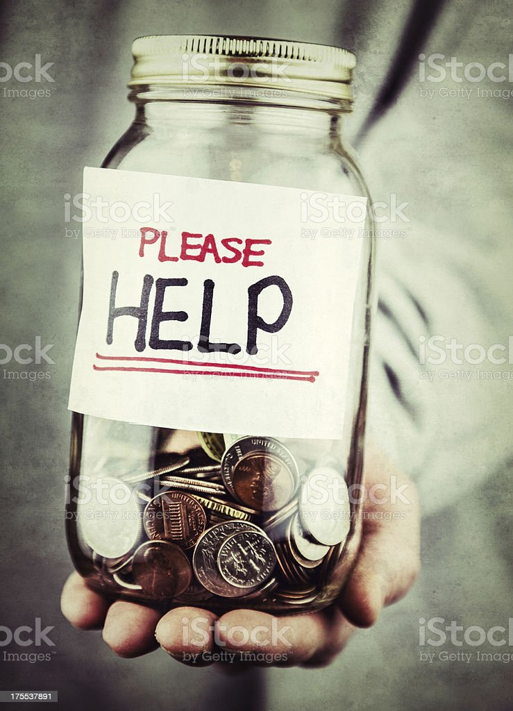 Man Collecting Cash Donations stock photo