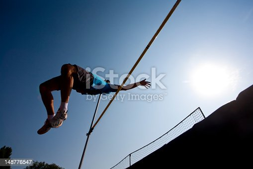Athlete competes in high jump