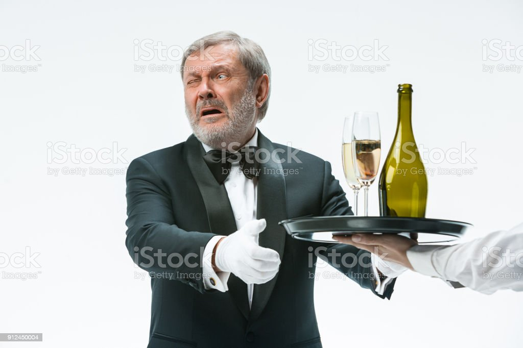 Man complaining for the bad drink stock photo