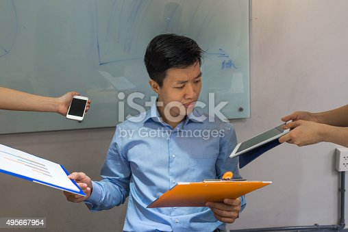 istock Man confused to choose which task to handle first 495667954