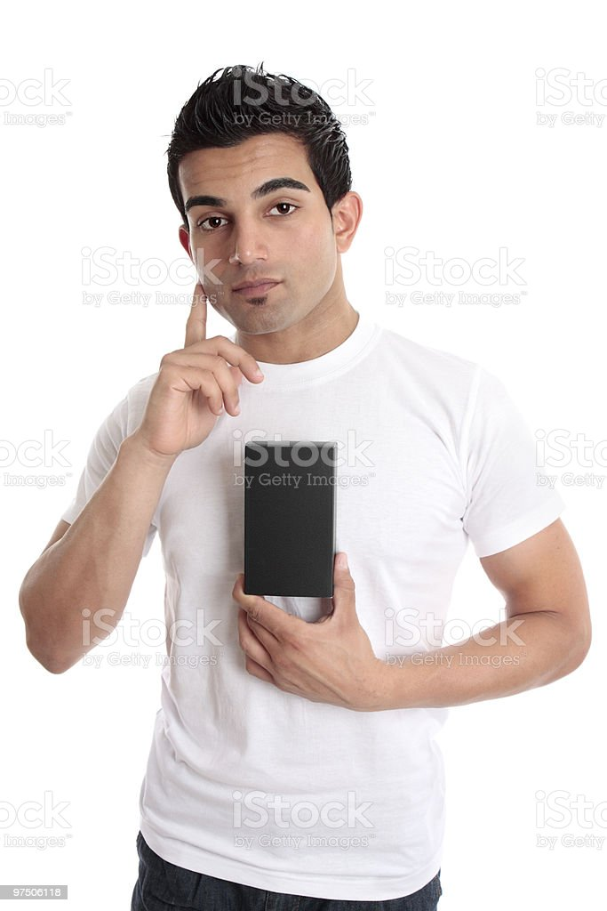 Man considering a product royalty-free stock photo