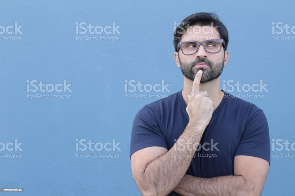 Man considering something positive with copy space stock photo