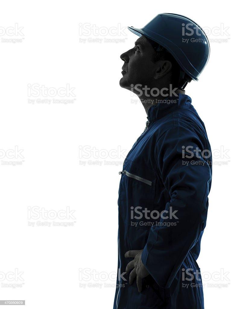 Mann Bau Arbeiter nachschlagen silhouette Porträt – Foto