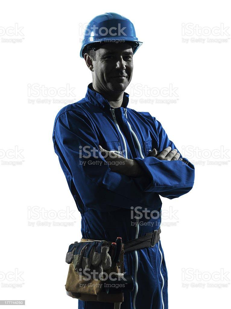 Mann Bau Arbeiter Lächeln freundliche silhouette Porträt – Foto