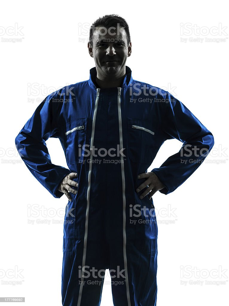 man construction worker smiling friendly silhouette portrait royalty-free stock photo