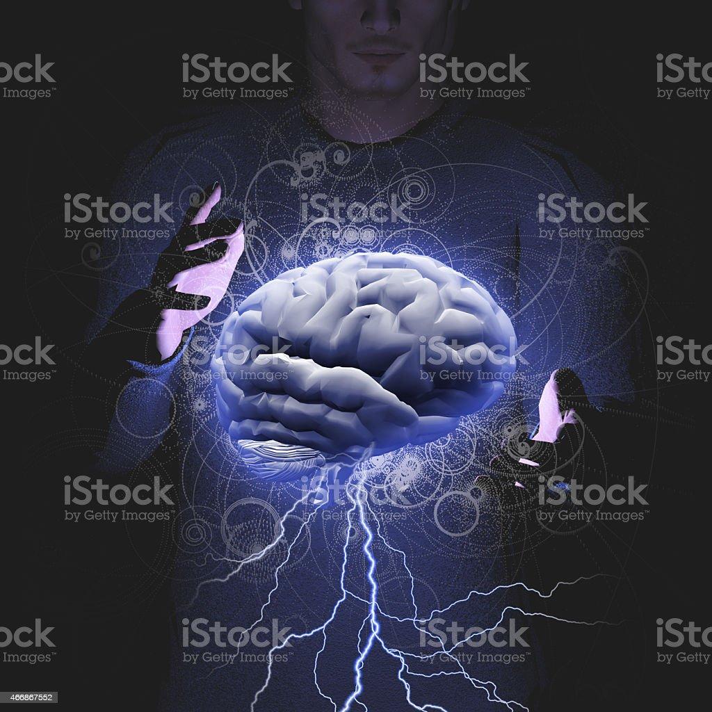 Man controls brain storm foto