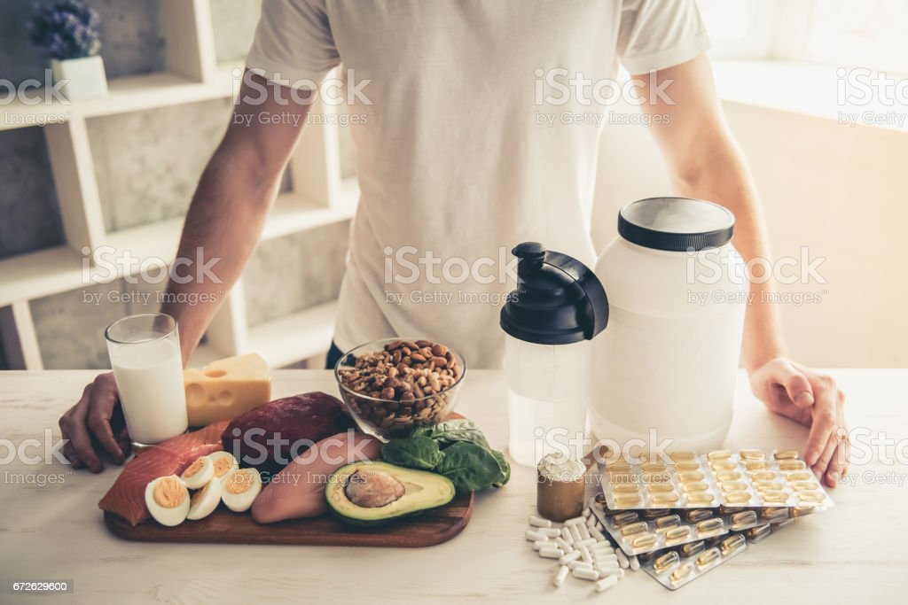 Man cooking healthy food stock photo