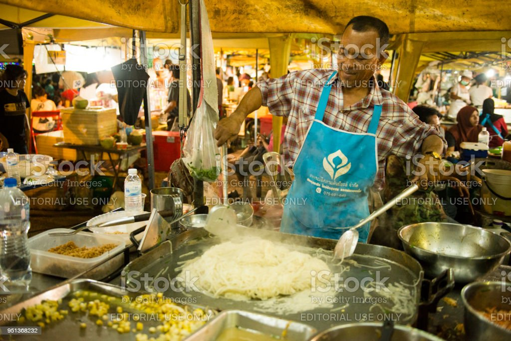 Man Cooking Pad Thai Noodles Krabi Town Thailand Night
