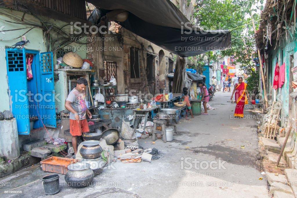 Man cooking street food at Kolkata stock photo