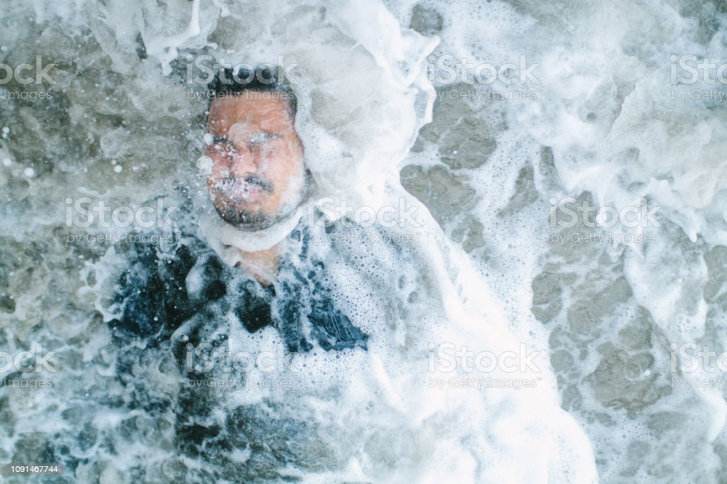 Man Covered in Water stock photo