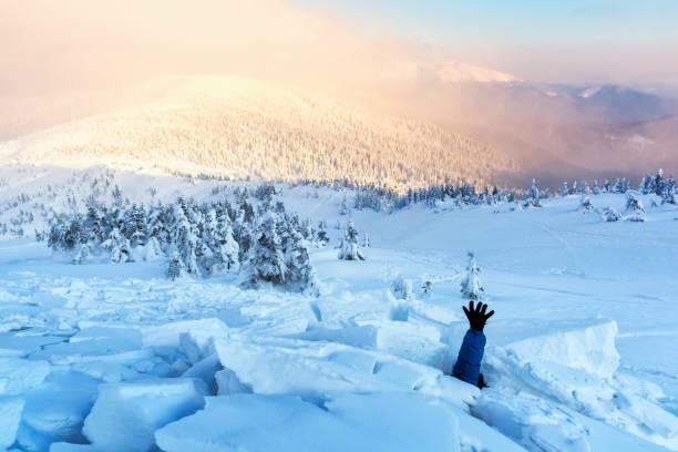 bir adam bir kar çığ ile kaplı - gömülü stok fotoğraflar ve resimler