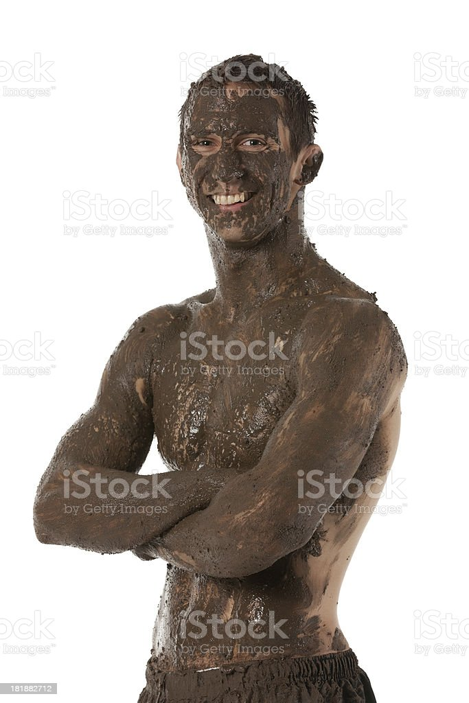 Man covered with mud royalty-free stock photo