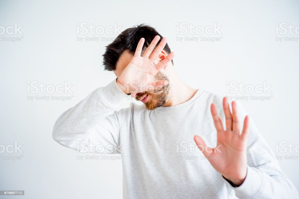 Man covering his face royalty-free stock photo