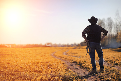 A Man Cowboy Hat And A Loso In The Field American Farmer In A F Stock Photo - Download Image Now