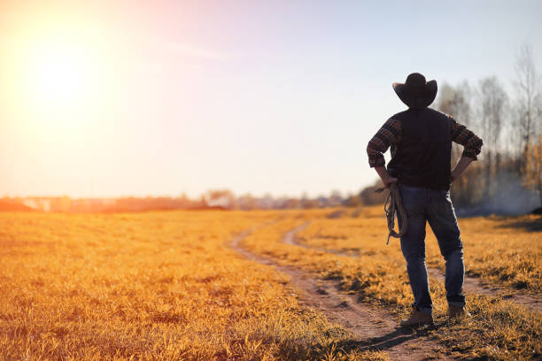 A man cowboy hat and a loso in the field. American farmer in a f A man in a cowboy hat and a loso in the field. American farmer in a field wearing a jeans hat and with a loso. A man is walking across the field in hat rancher stock pictures, royalty-free photos & images