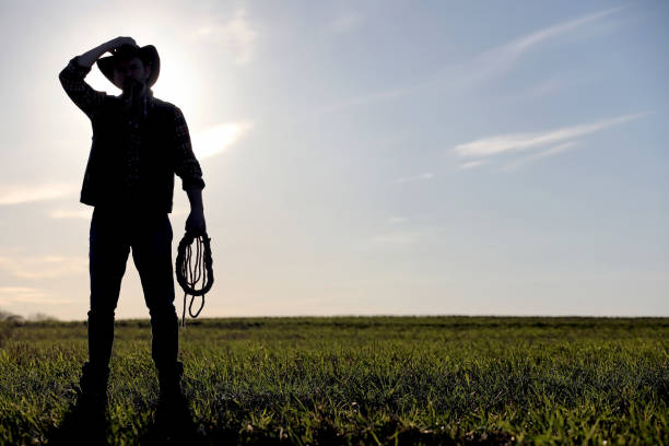 A man cowboy hat and a loso in the field. American farmer in a f A man cowboy hat and a loso in the field. American farmer in a field wearing a jeans hat and with a loso. A man is walking across the field in a hat rancher stock pictures, royalty-free photos & images