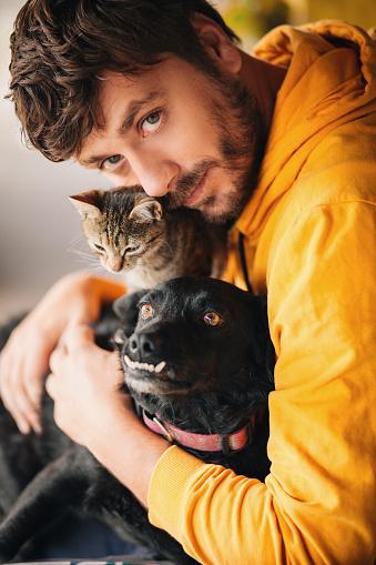 Serbia, Domestic Cat, Dog, Men, People