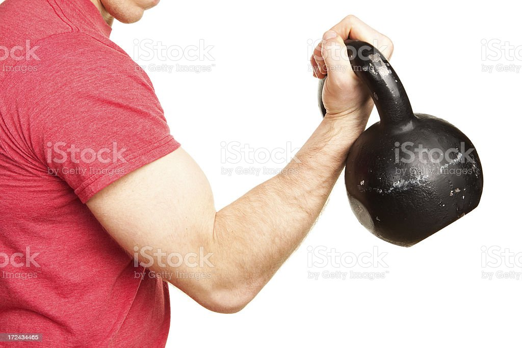Man Curling Kettle Bell Exercise Isolated on White royalty-free stock photo