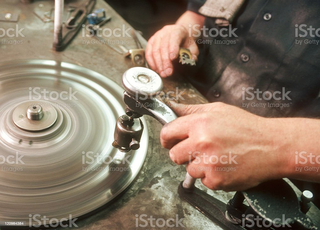 man cutting diamond royalty-free stock photo
