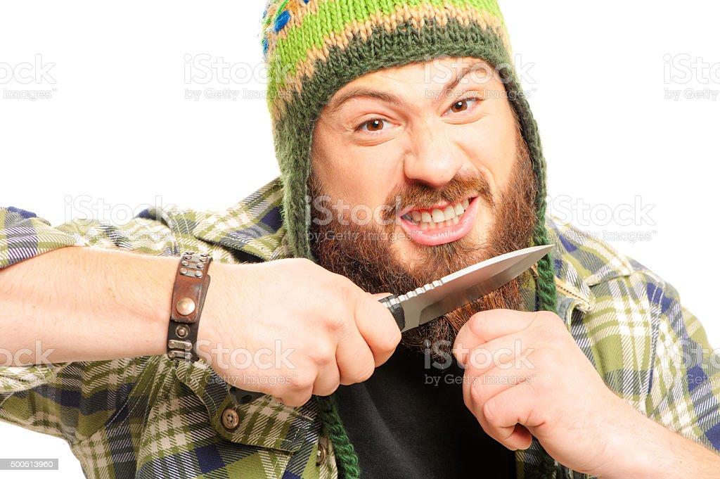 Homme avec un couteau avant sa barbe - Photo