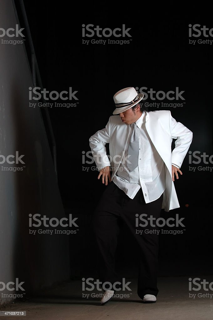 Man dancing in the night stock photo