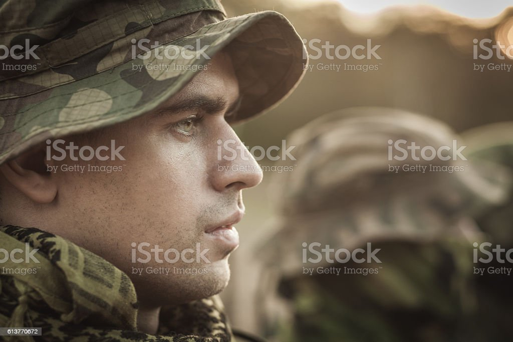 Man dedicated to his country stock photo