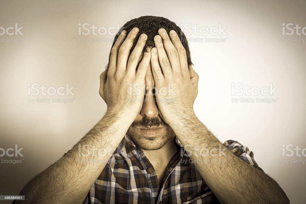 Man Depressed, Crisis stock photo