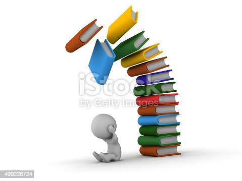 istock 3D Man depressed with books falling over him 499228724