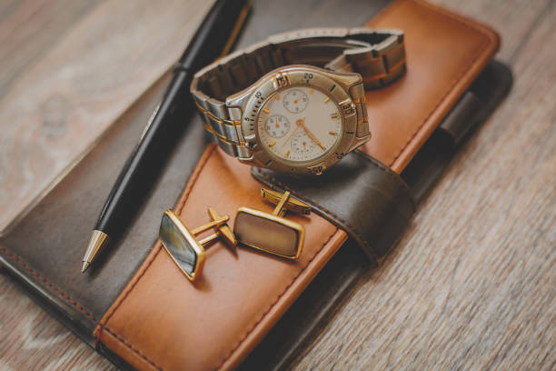 man different accessories and notepad - sport set competition round stock photos and pictures