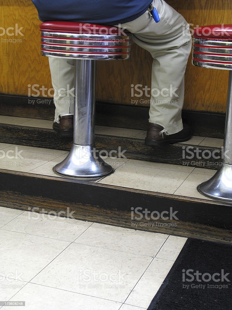 Man Diner Counter Indoor Route 66 royalty-free stock photo