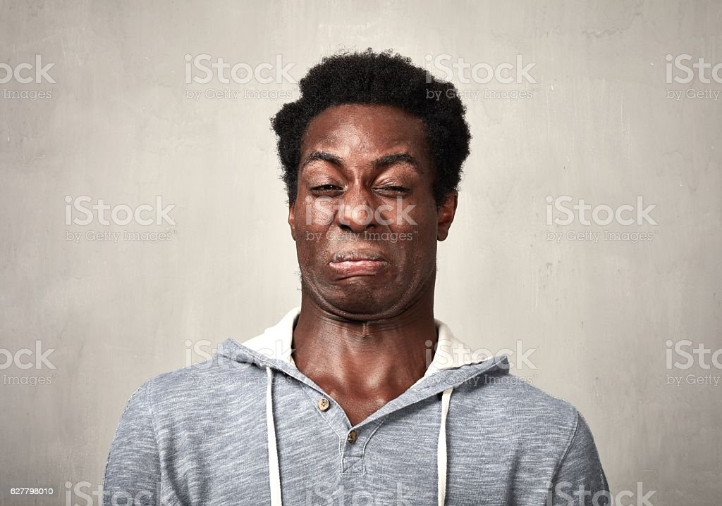 Man disgusted stock photo