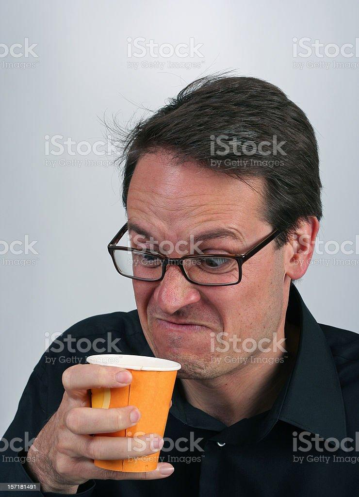 Man dislikes his coffee royalty-free stock photo